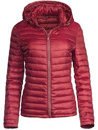Trisens Damen ÜBERGANGSJACKE Strass Zipper Steppjacke FRÜHLINGSJACKE Jacke, Größe:XL, Farbe:Bordeaux