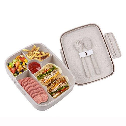 BRIGENIUS Bento Lunch Box For Kids Adults With 5 Compartment, Leakproof, Microwave...