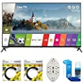 LG UJ7700 Super UHD 4K HDR Smart LED TV 2017 Model with 2x 6ft High Speed HDMI Cable Black, Transformer Tap USB w/ 6-Outlet Wall Adapter, and 2 Ports & Screen Cleaner for LED TVs