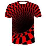 RuaRua Mujer De Camiseta Casual,Creativo 3D Impreso En Blanco Y Negro, Camisetas De Manga Corta con Cuello Redondo, Camisetas Casuales Novedosas, Diseños Geniales, Canal Rojo, 6XL