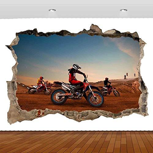 Pegatinas de pared Motocross Dirt Racing 3D Mural calcomanía pared cartel vinilo 50x70 cm