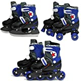 Sk8 Zone By Eurotrade Boys' HW219742 SK8 Zone Blue 3in1 Roller Blades Inline Quad Adjustable Size Childrens Kids Pro Combo Multi Ice Skating Boots Shoes New (Small 9-12 (27-30 EU)