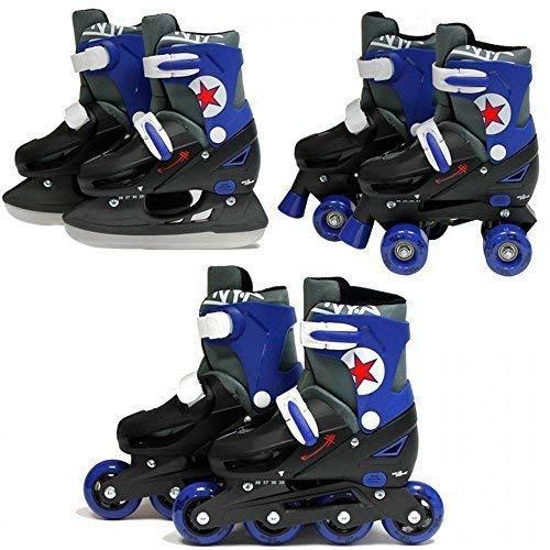SK8 Zone Boys Blue 3in1 Roller Blades Inline Quad Skates Adjustable Size...