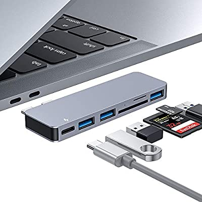 USB C Hub, Type C Hub Adapter 6 in 1 with 3 USB 3.0 Ports, TF/SD Card Reader, USB-C Power Delivery, Aluminum Adaptor for MacBook Pro 2016/2017/2018, Macbook Air 2018 (Space Grey)