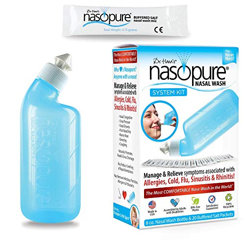 Dr. Hana's Nasopure Nasal Wash | System Kit | The Nicer Neti Pot - Nasal Symptoms of Allergies, Cold, Flu, & Sinusitis - Fast All Natural Relief - Nasal Irrigation System/Nasal Spray/Nasal Hygiene