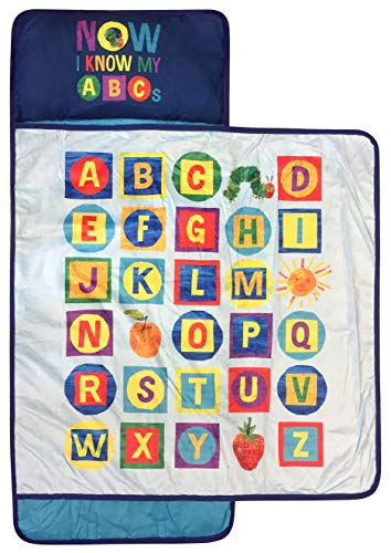 Jay Franco Eric Carle ABC Nap Mat - Built-in Pillow and Blanket - Super Soft Microfiber Kids'/Toddler/Children's Bedding, Ages 3-7 (Official Eric Carle Product)