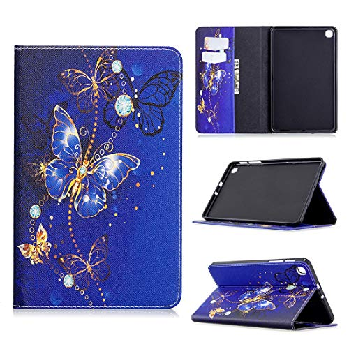ZORSOME Pattern Flip Protection PU Leather Wallet Tablet Case for Samsung T307 Magnetic Ultra-Thin Anti-Drop Bracket Card Slot Case (Color : Purple Butterfly)