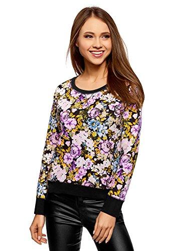 oodji Ultra Damen Bedrucktes Sweatshirt Basic, Mehrfarbig, DE 34 / EU 36 / XS