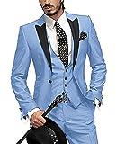 GEORGE BRIDE Herren Anzug 5 Teilig Anzug Sakko,Weste,Anzug Hose,Krawatte,Tasche Platz 002,Hellblau S