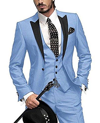 George Bride 002 - Traje de 5 piezas para hombre, chaqueta de traje, chaleco, pantalón de traje, corbata, con bolsillos azul claro L