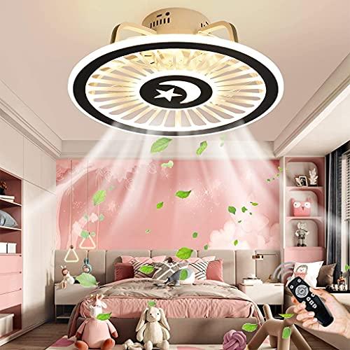 Ventilador De Techo LED Con Iluminación Regulable Con Control Remoto Luz De Techo Ventilador Redondo Luz De Ventilador Lámpara De Techo Sala De Estar Comedor Dormitorio Oficina Luz Colgante (A)