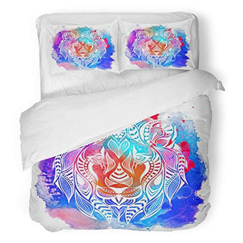 Aopaka Antler Twin Duvet Cover Set (1 Duvet Cover + 2 Pillow Shams), Colored Head of Lion African Totem Tattoo Bed Comforter Cover Bedding Sets, Durable, Anti-Wrinkle
