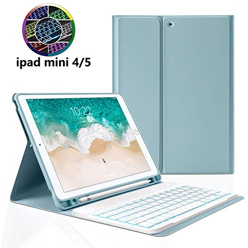 Strnry Keyboard Case for Ipad Mini 5 2019(5Th Gen) - Ipad Mini 4 2015-7 Colors Backlit Detachable Wireless Bluetooth Keyboard Smart Case with Built-In Pencil Holder,Blue
