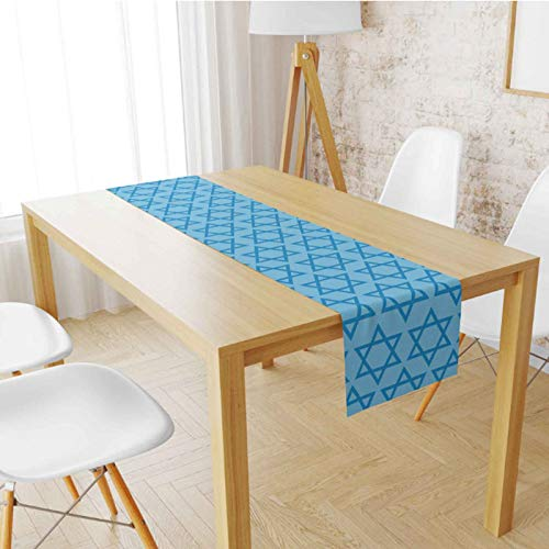 Hanukkah Table Runner - Ethnic Jewish Stars Printed Table Runner for Hanukkah Decorations (Blue Stars)