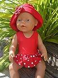 Puppenkleidung handmade Badeanzug + Hut für Baby Puppe Gr. 43 cm Badeset Sommerset Badeset Puppenbadeanzug