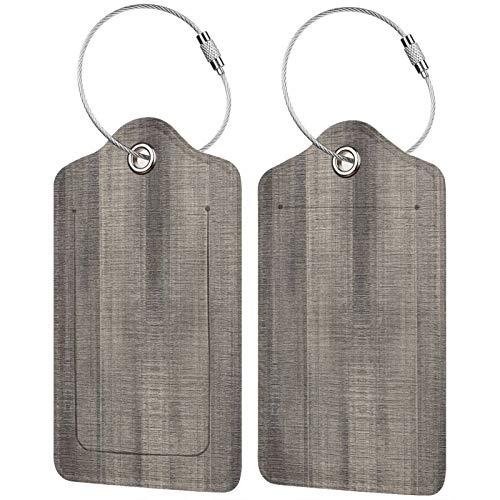 FULIYA Etiquetas de equipaje de viaje, etiquetas de identificación, soporte para tarjetas de visita, juego de 2, textura, superficie, madera