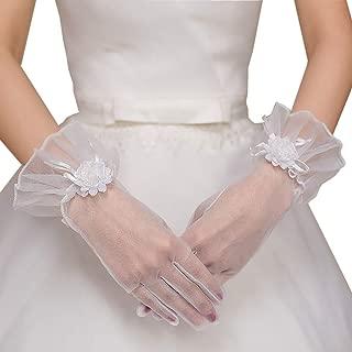 Women Flower Lace Gloves for Wedding Dress Driving