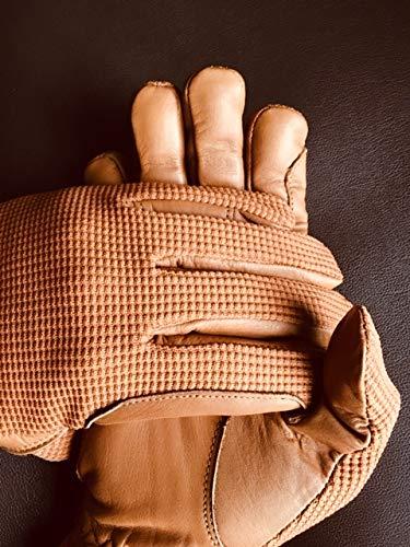 Sulkhanz Damen Reithandschuhe aus echtem Leder und Baumwolle, Premium-Qualität, Hellbraun, Größe M (US)