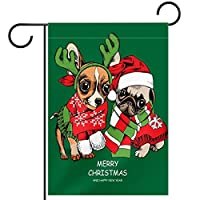 ホームガーデンフラッグ両面春夏庭屋外装飾 12x18INCH,子犬はクリスマスサンタのスキャップで犬の友達をパグします