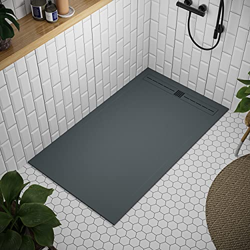 Shower Tray 800 x 1700 Stone Resin Tiber - Anti Slip and Low Profile - Matte Finish and Smooth Texture - All Sizes Available - Shower Waste and Painted Grid Included - Anthracite RAL 7011