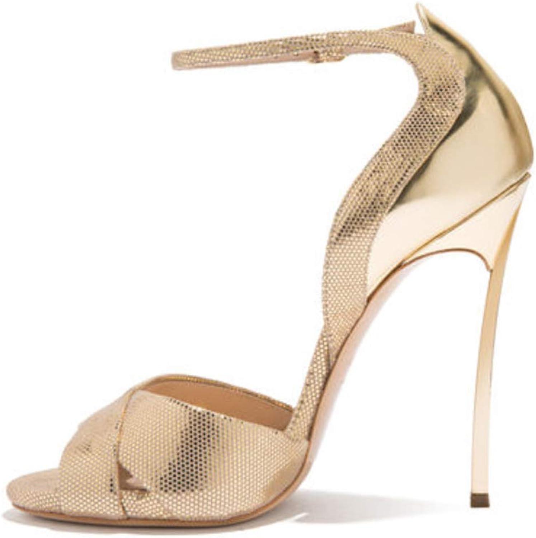 Vimisaoi Women's Peep Toe High Heel Glitter Ankle Strap Buckle Sandals, Sexy Snakeskin Print Vegan Stilettos Strappy Heeled Pumps gold