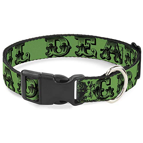 Dog Collar Plastic Clip Grateful Dead Text Skull Roses Green 15 to 26 Inches 1.0 Inch Wide
