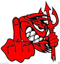 Little Red Devil -F-U Bumper Sticker Decal Devil with Middle Finger Bumper Sticker Decal Vinyl - Made in USA 4.5 in. X 4 in.