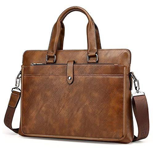 Xuping shop Lederen heren Aktetas Voor 14'' Laptop Tas Schoudertas Handtas, Zakelijke Tas Office Work Document