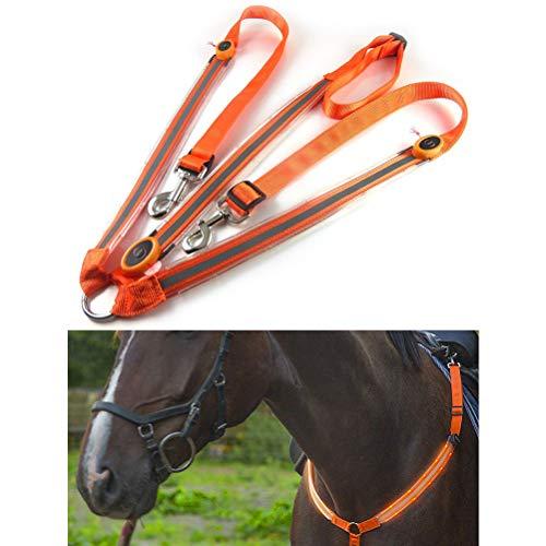 Rapoyo Stoviglie per Cavalli a LED, Fascia Toracica per Cavalli con Luce LED, Migliore visibilità Durante l'equitazione, Attrezzature robuste e comode Regolabili per Sport di Cavallo melarancia