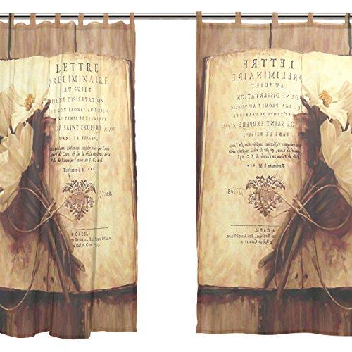 Jstel 2 pcs Voile de rideau de fenêtre, vintage shabby chic floral, tulle Sheer Rideau Drape Lit 139,7 x 198,1 cm Ensemble de deux Panneaux