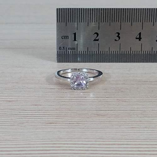 Diamonds in the Sand 14 Karat Weißgold Halo 5mm Kissenschliff hellvioletter Amethystring mit Diamanten