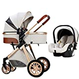 Baby Carriage Stroller 3 in 1 Letaten Baby Trolley Car Seat Stroller, Foldable Stroller Carriage Luxury Baby Pram Newborn Stroller with Cooling Pad Rain Cover Footmuff Mosquito Net (Color : White)