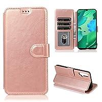 FANYAO 携帯電話ケース カーフテクスチャホルダー&カードスロット&財布&フォトフレームと磁気バックル水平フリップレザーケース (Color : Rose Gold)
