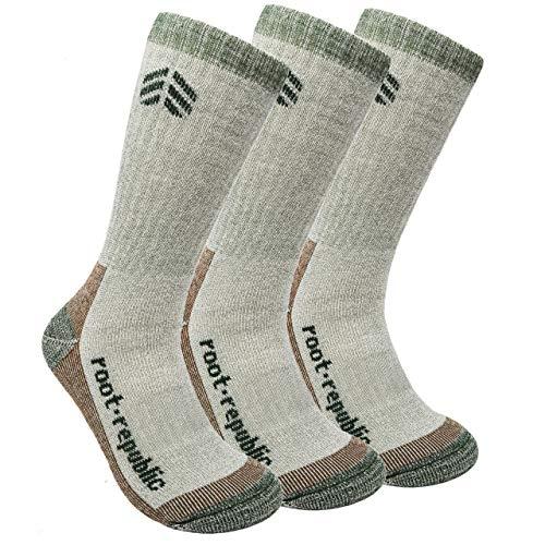 Root Republic 81% Merino Wool Hiking Socks Cushion Crew Outdoor Camping Mountain Boot Socks for Men & Women