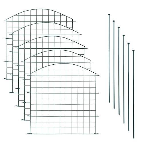 IR Experten Teichzaun Set | Komplettset aus 6 Befestigungs - und 5 Zaun - Elementen | Pulverbeschichteter Metall Gartenzaun | Gesamtlänge 3.75 m | In der Farbe Grün (Oberbogen)
