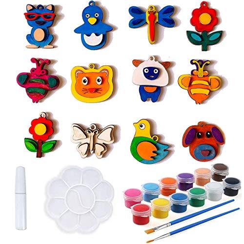 Juego de manualidades para niños, imán de madera para nevera, para pintar para niños,juego de manualidades para niños,12 unidades