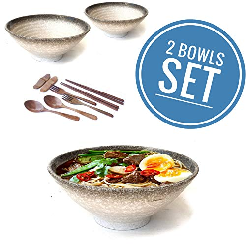 Vallenwood 2 Noodle Bowl Sets (10 piece) Ceramic Large Ramen Bowls Set. Asian Chinese Japanese or Pho Soup 32oz. With Spoons, Chopsticks, Stand and Forks Dinnerware. Thai Miso Udon wonton soup.