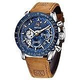 BENYAR Uhren Herren Chronograph Analogue Quartz Uhr Männer Skelett zifferblatt Military Sport Armbanduhr mit Leder Armband 30m Wasserdicht Elegant Geschenk für männer