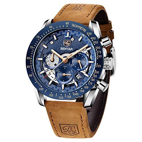BENYAR Uhren Herren Chronograph Analogue Quartz Armbanduhr für männer Lederarmband Skelett Militär zifferblatt Fashion Business Sport Design 30M Wasserdicht Elegant Geschenk für Vatertag
