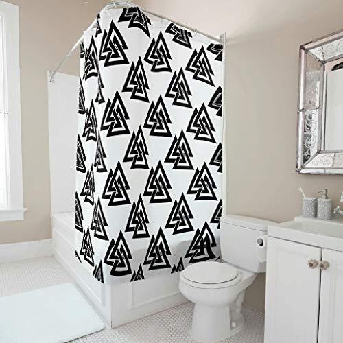 Sweet Luck Cortina de ducha con runas vikingas, antimoho, resistente al agua, lavable, tela de poliéster textil, con anillos de cortina de ducha para ducha, color blanco, 120 x 180 cm