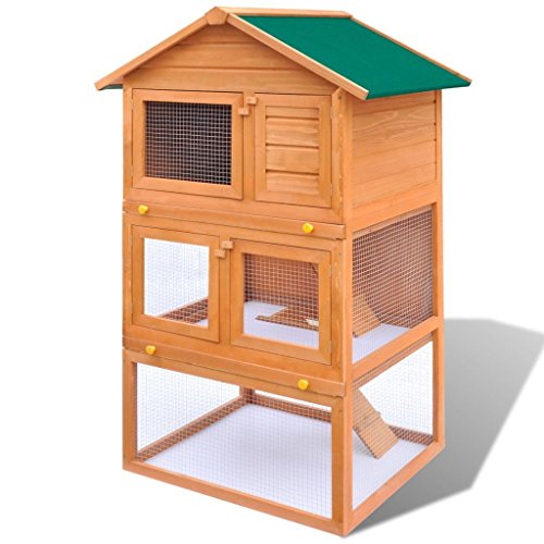 pedkit Conejera de Exterior Madera Gallineros Casa para Conejos Cobayas Hámster Mascotas...