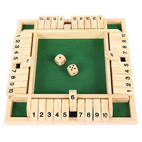 Relax love Holzbrettspiel mit Würfel Shut The Box Würfelspiel(2-4 Spieler), Holzbrettspiel Vierseitiges Brettspiel Flop-Spie für clevere Kinder & Erwachsene