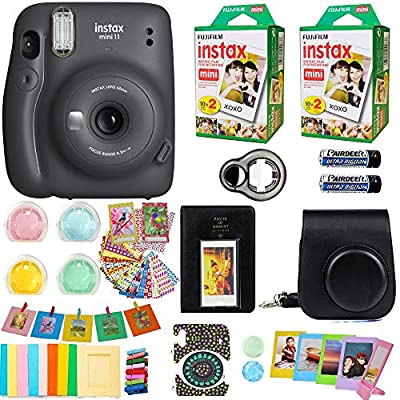 Fujifilm Instax Mini 11 Camera + Fuji Instant Instax Film (40 Sheets) Includes Case + Assorted Frames + Photo Album + 4 Color Filters and More Accessories Bundle (Charcoal Gray)