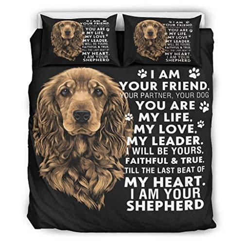 BOBONC I Am Your Dog Friend Life Love 3D Bed Set Bettbezug Set All Seasons Light Bettwäsche-Set für Jungen Mädchen 100% Polyester with Zip White 229x229cm