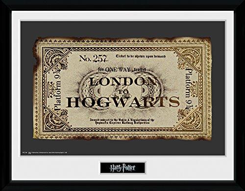 Harry Potter 1art1 Billete De Tren De Londres A Hogwarts Póster De Colección Enmarcado (40 x 30cm)