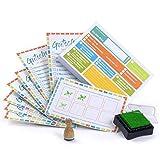 Aufgabenliste für Kinder – Klebezettel Set mit Belohnungssystem (100 Haftnotizen, 10 x Stempel-Karte, 1 Stempel + -kissen)