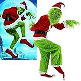ALIZIWAY グリンチ コスチューム メンズ サンタクロース コスチューム スーツ 7ピース デラックス クリスマススーツ 大人用 ふわふわグリーン アウトフィット US サイズ: Small カラー: グリーン
