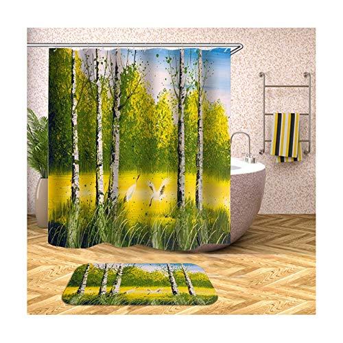 MF.CHAMA Duschvorhang Nachhaltig, Polyester Badezimmer Schlaufen Vorhang Bäume 90x180CM & Teppich