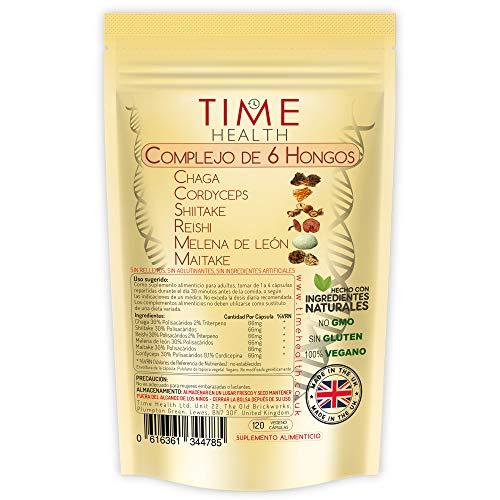 Mushroom Complex 6 – MAXIMUM STRENGTH 12000mg per Capsule - Chaga, Cordyceps, Shiitake, Reishi, Lions mane, Maitake - UK Manufactured (120 Cápsulas por Bolsa)