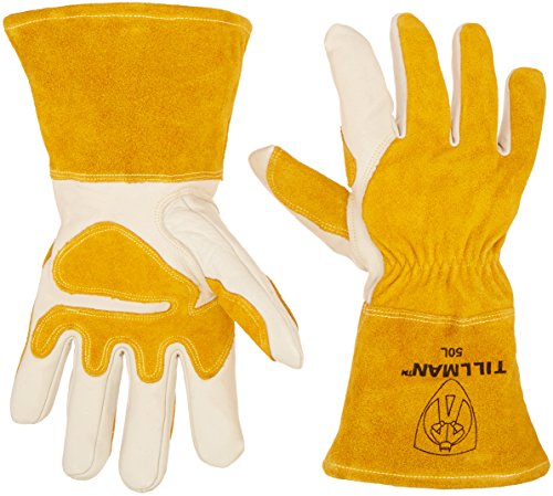 """John Tillman and Co Tillman Large 14"""" Gold and Pearl Top Grain Split Back Cowhide Fleece Lined MIG Welders Gloves with 4"""" Cuff and Kevlar Thread Locking Stitch (Carded), White/Tan (TIL50L)"""